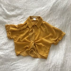 Urban outfitters crop tie front top